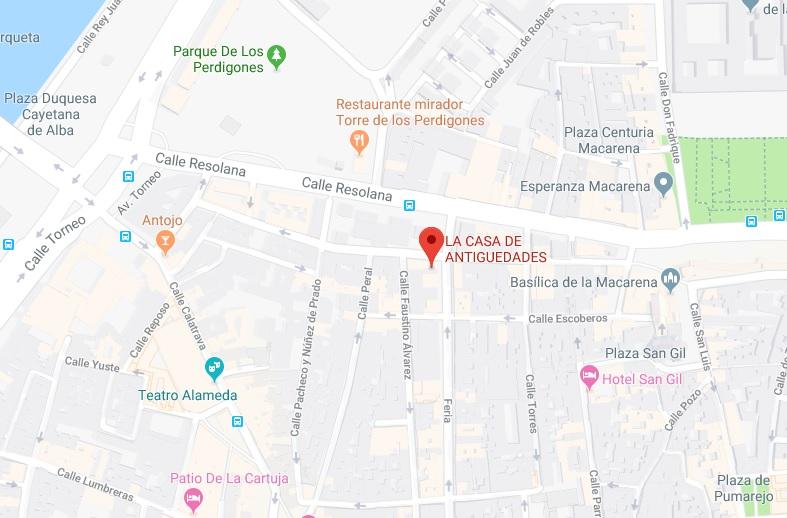 ubicación tienda de antigüedades en Sevilla